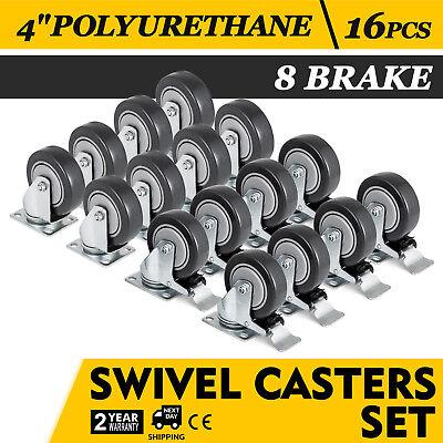 16 Pack 4 Inch Caster Wheels Swivel Plate On Black Polyurethane Wheels