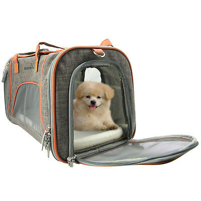 Pet Carrier Soft Sided Large Cat Dog Comfort Luxury Travel Bag Airline Approved
