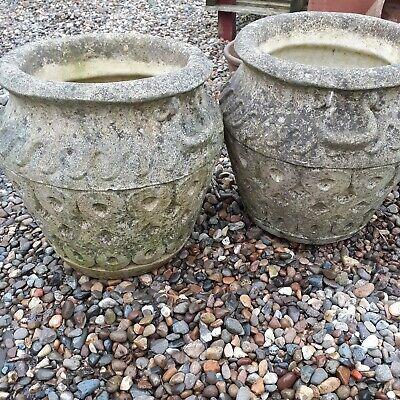 Mid century stone garden planters urns