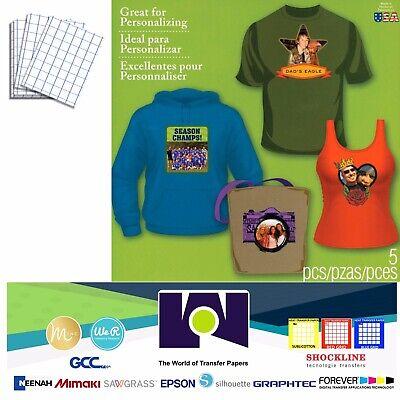 Inkjet Heat Transfer Paper Ironon Dark T-shirt 5 Sh 8.5x11 1-usa Blue Grid