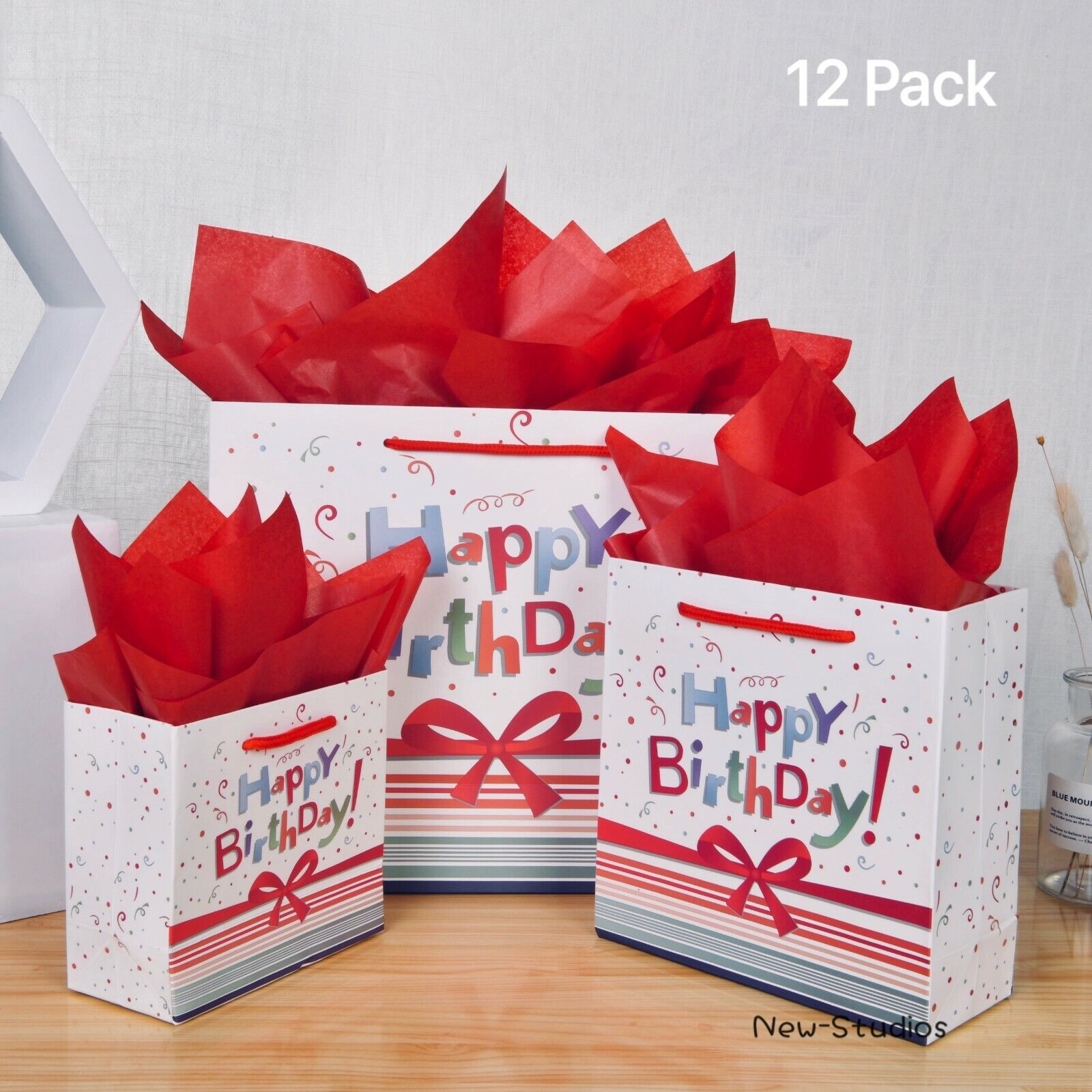 12 Pack Birthday Gift Bags Assortment with Tissue Paper and