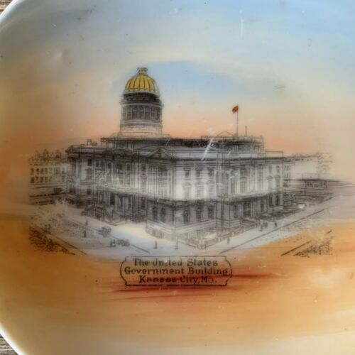 "Vintage US GOVERNMENT BUILDING Souvenir China ""Butter Pat"" Dish KANSAS CITY MO"