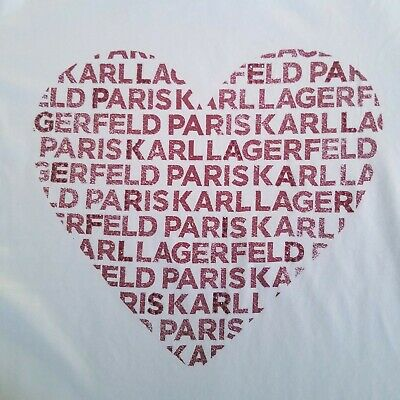 Karl Lagerfeld Paris Women White Heart Graphic T-Shirt Size L NWT 39.50$