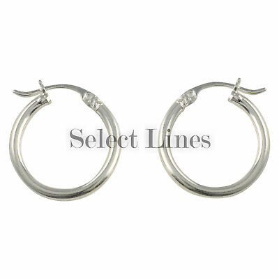 Sterling Silver 2mm Round Tube (Sterling Silver 2mm x 18mm Polished Hinged Hoop Earrings Round Hollow Tube)