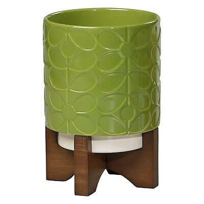 Orla Kiely Ceramic Plant Pot with Stand - 60s Stem Leaf (Green) - New & Boxed