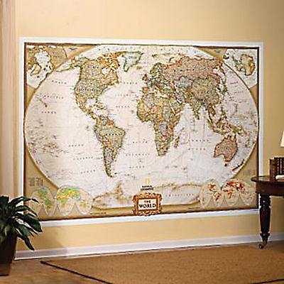 World Wall Map by National Geographic Executive Style Brown Toned Mural Executive World Wall Map