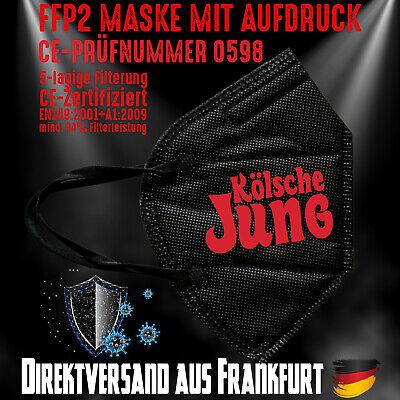 FFP2 Maske Mundschutz Mundmaske schwarz Zertifiziert CE0598 Kölsche Jung Köln