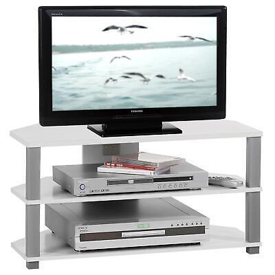 Tv-rack (TV Rack Tisch Schrank Board Unterschrank Hifi Media Möbel Design in weiss grau)