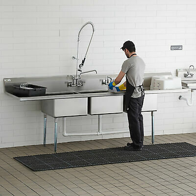 121 3-compartment Stainless Steel Commercial Pot Pan Sink With 2 Drainboards
