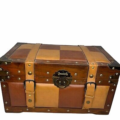 """Trunk Faux Leather Checker Board Hinged Lid Straps Handles 17""""x9""""x9"""" Wood"""