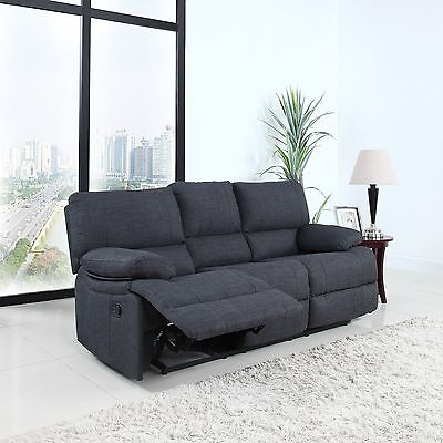 (Classic Recliner Couch Traditional Dark Grey Fabric Oversize Living Room Sofa)