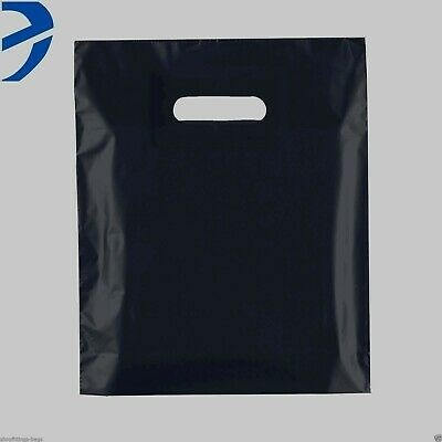 200 Plastic Black Carrier Bags Patch Handle Retail Shopping  15