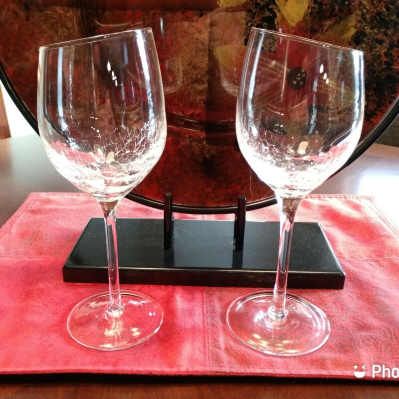Pier One Crackle Wine Glasses With Angled Rim