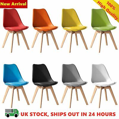 4 x Dining Chair Tulip Chairs Eiffel Wooden Legs Office Kitchen And Padded Seat