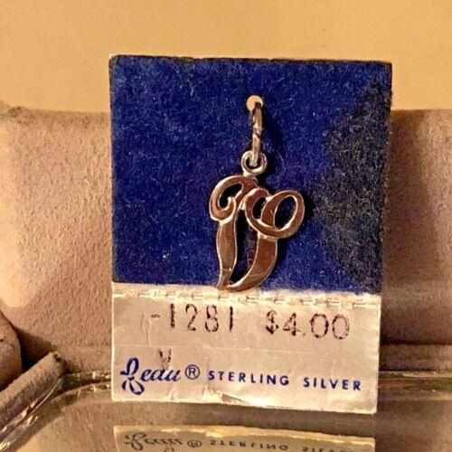 "NEW VTG Sterling Silver Beau Initial ""V"" Charm Pendant 3/4"" On original card"