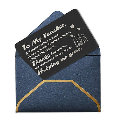 Engraved Custom Metal Purse Wallet Insert Best Teacher Mini Gift Card