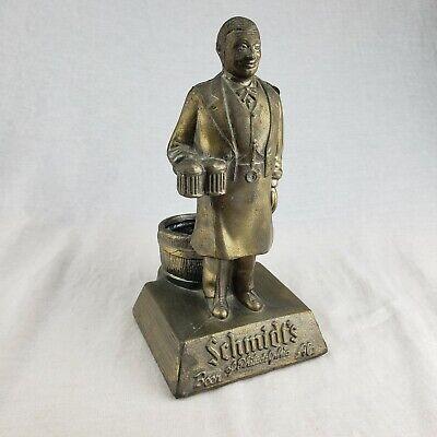 VTG Schmidt's Beer Bar Top Advertising Bronzed Metal Display Figure Bartender V1
