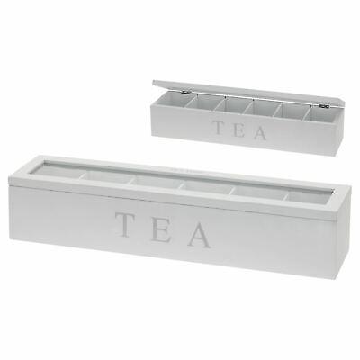 Madera Té Caja Bolsa Almacenaje 6 Compartimentos MDF Cristal Tapa Bisagra Cajita