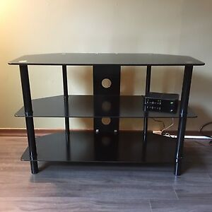 Modern Black Metal/Glass TV Stand fits up to 40""