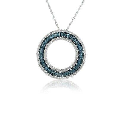 1.06 Ct Baguette Cut Natural Blue Diamond Circle Pendant Necklace 925 Sterling