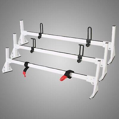 Ladder Roof Racks Steel WHITE Rack For 96-19 Chevy Express Fullsize Van 3 bar 3 Roof Rack