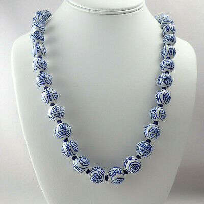 """Vintage Chinese Export Longevity Blue & White Porcelain 28"""" Knotted Necklace"""