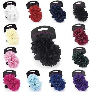 Two-Piece-Flower-Ponio-Hair-Bands-Bobbles-Set-Size-7cm-Womens-Ladies-Girls