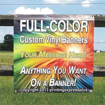 2 X 10 Custom Vinyl Banner 13oz Full Color - Free Design Included