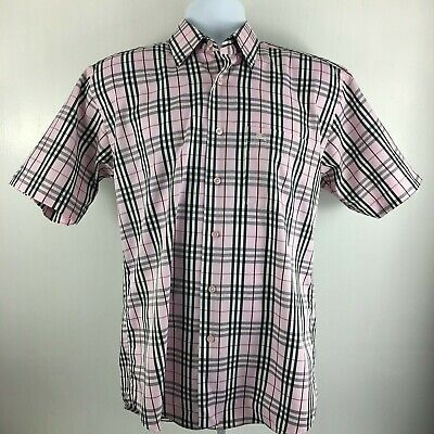 Burberry London Pink Plaid Short Sleeve Shirt Mens Size 15 -