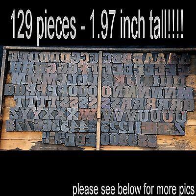 Letterpress Wood Printing Blocks 129 Pcs 1.97 Tall Alphabet Type Woodtype Abc