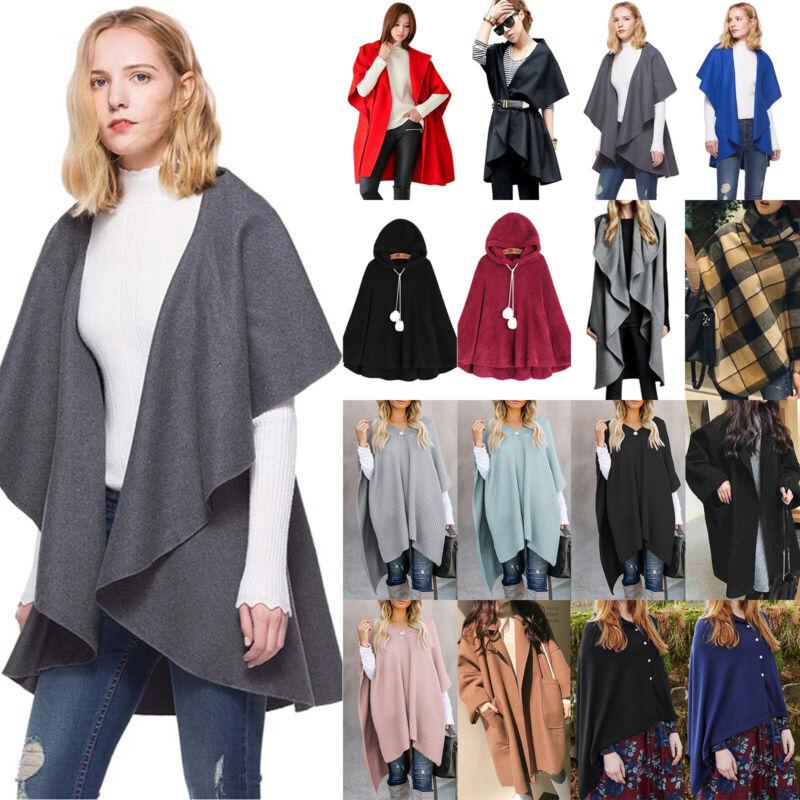 Women's Winter Casual Cape Poncho Shawl Sweater Coat Jacket