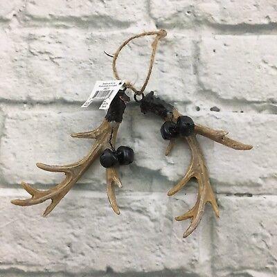 Christmas Tree Holiday Hanging Ornament Deer Antler Lodge Bells 5