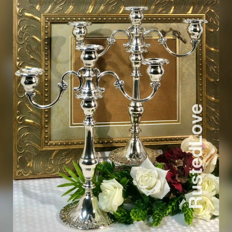 Gorham Sterling Chantilly-Duchess Weighted Candlestick Holders 3 Arms - PAIR