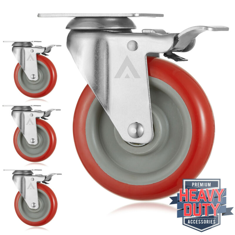 "Set of 4  Heavy Duty Swivel Casters with Lock Brakes 5"" Polyurethane Wheels"
