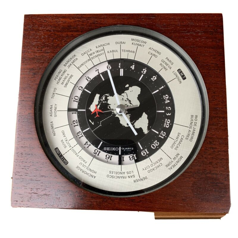 Vintage QZ877D Seiko Quartz GMT World Clock Airplane