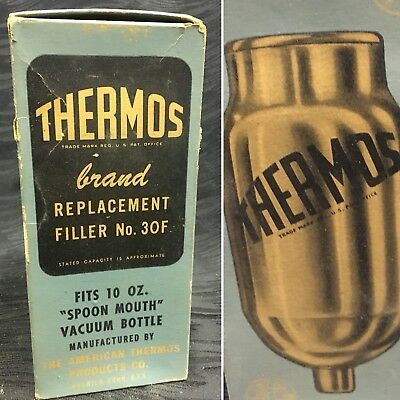 Replacement Glass Liner - Vtg Thermos Brand Replacement Glass Vacuum Liner Filler # 30F 10oz Spoon Mouth