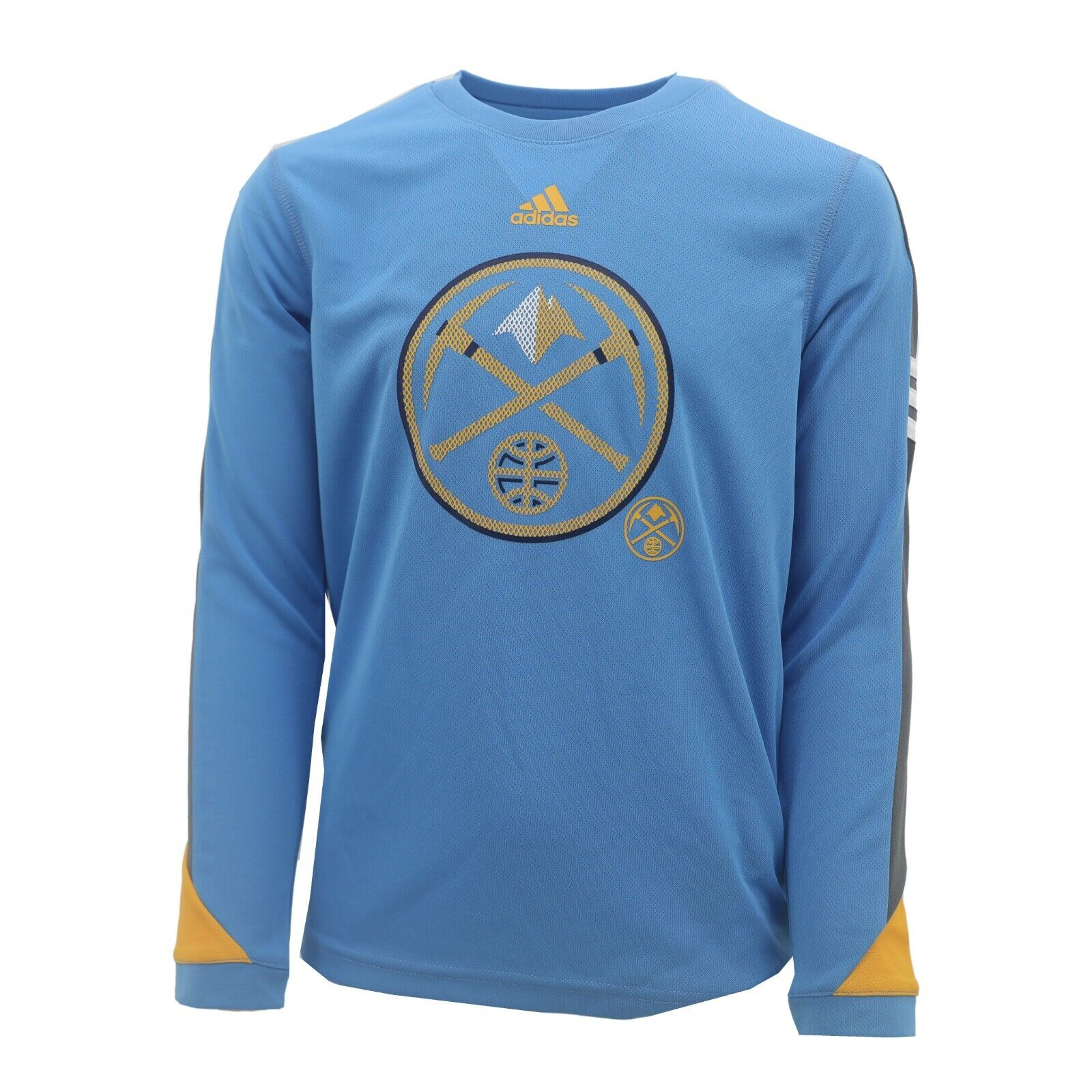 promo code bc1a5 fd1b8 Details about Denver Nuggets NBA Adidas Kids Youth Size Long Sleeve Warm Up  Athletic Shirt New