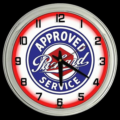 """16"""" Packard Approved Service Sign Red Neon Clock Man Cave Garage Shop"""