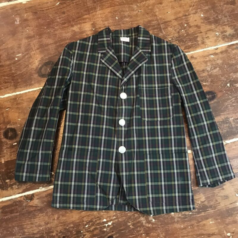 Vintage 40s 50s Best & Co. NY Cotton Sportcoat Jacket Boys 7/8 Plaid 3 Button