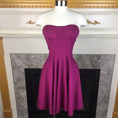 BEBE 0 Fuchsia Pink Strapless Sweetheart Corset Fit & Flare Stretch Dress