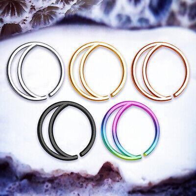 LUNA Double Nose Rings 20G Ring Cute Small Septum Piercing Cartilage Hoop Helix (Hoop Nose Ring)