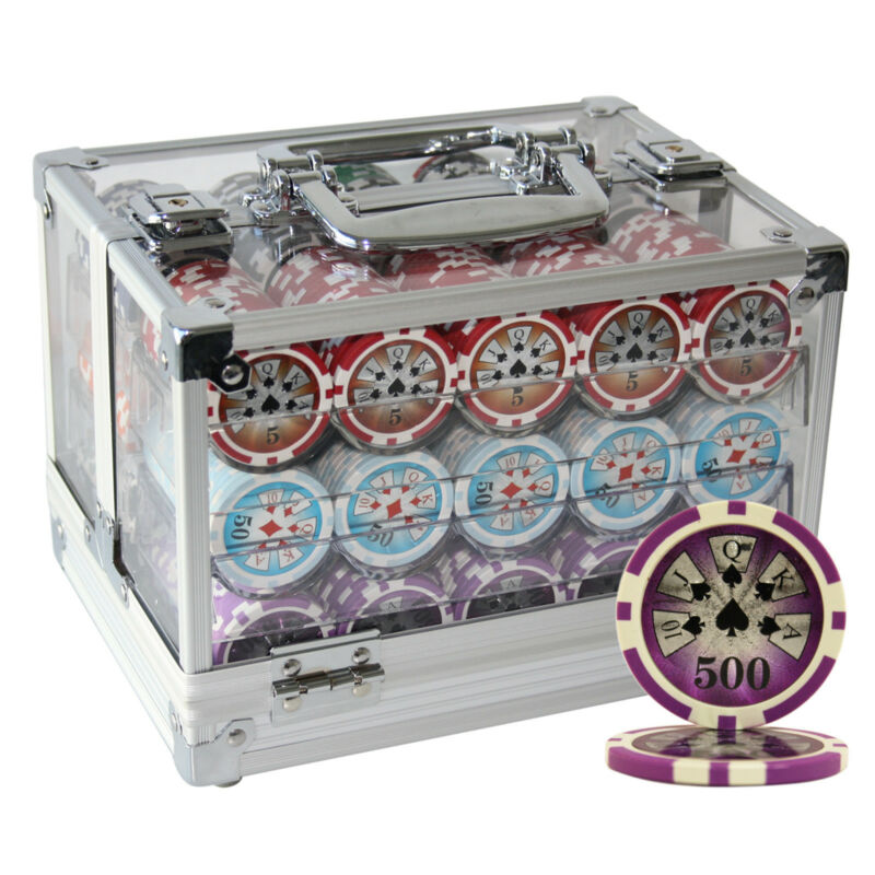 600 14 G HIGH ROLLER CASINO CLAY POKER CHIPS SET ACRYLIC CASE CUSTOM BUILD