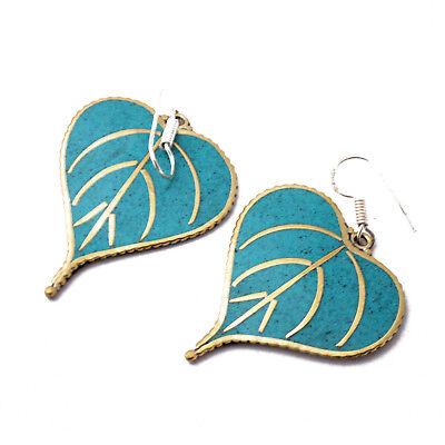 Turquoise Brass Leaf Earring Tibetan Nepalese Handmade Tibet Nepal ER1079