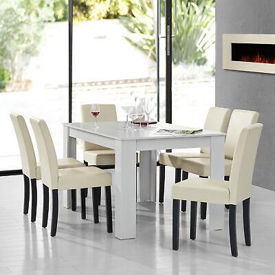 [en.casa]® Esstisch weiß mit 6 Stühlen creme [140x90] Tisch Stühle Essgruppe