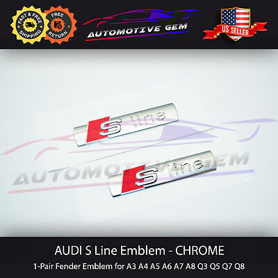 Audi S LINE Emblem Chrome Red Side Fender Logo Decal Badge Sticker Pair OEM
