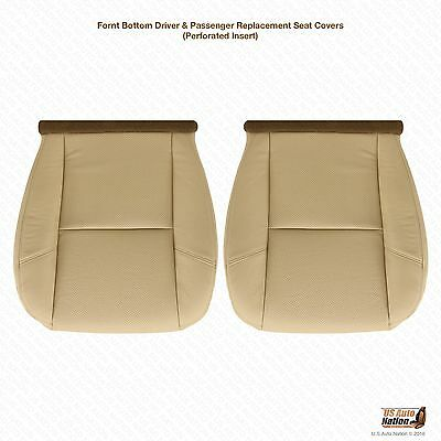 - 2007 2008 Cadillac Escalade Driver & Passenger Bottom Leather Seat Cover Tan