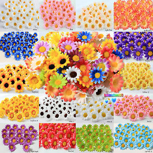 100X-50X-Daisy-Artificial-Silk-Flower-Heads-Wholesale-Lots-F10