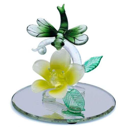 """Hand Blown Glass Dragonfly Figurine On Beveled Glass Oval Base 4"""" Long New"""