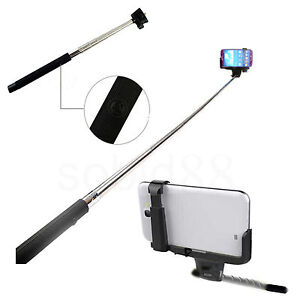 black monopod extendable holder selfie stick handheld for apple iphone 6 plus. Black Bedroom Furniture Sets. Home Design Ideas