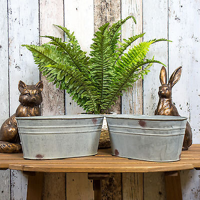 Set of 2 Oval Galvanised Metal Plant Pots Troughs Flower Window Box Planters